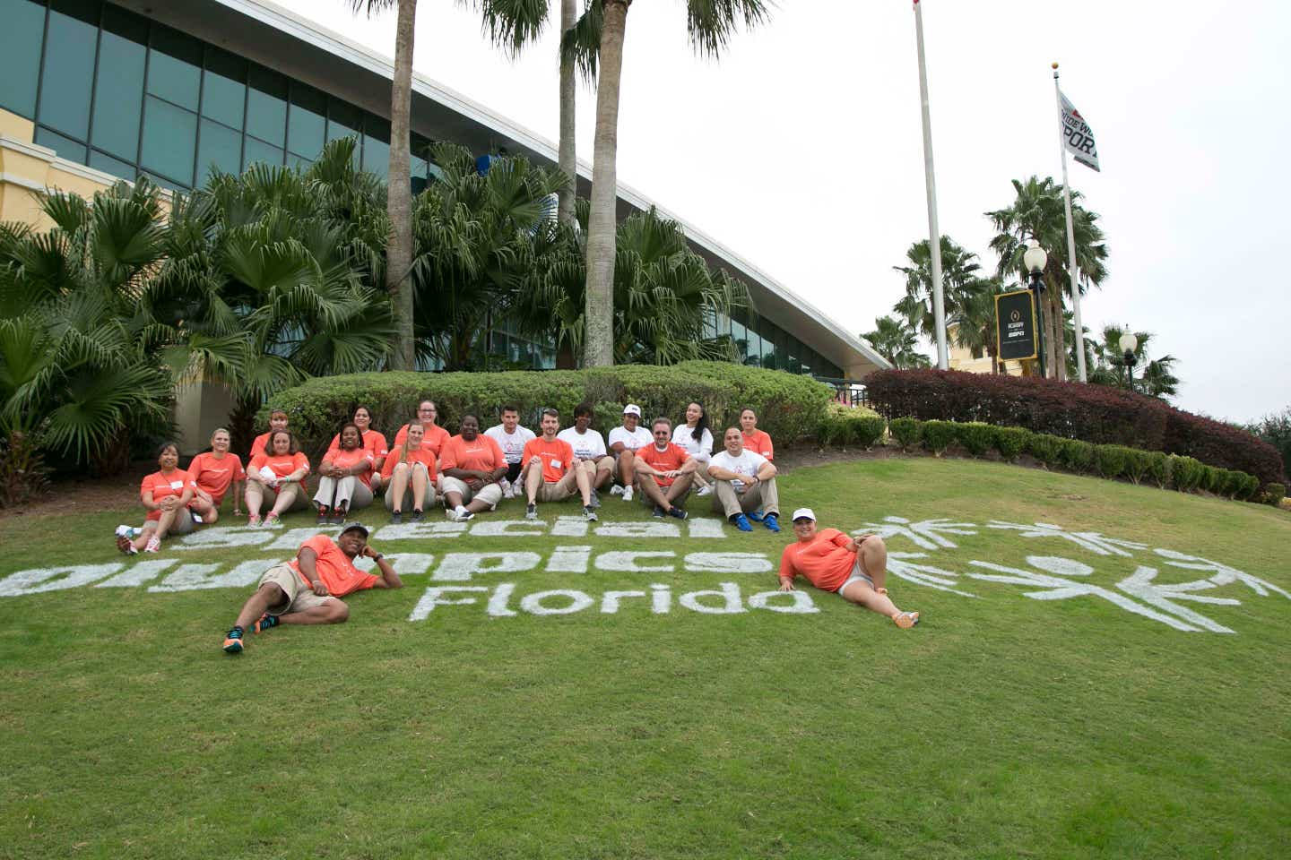 HICV Volunteers pose in front of the Special Olympics Florida facility.