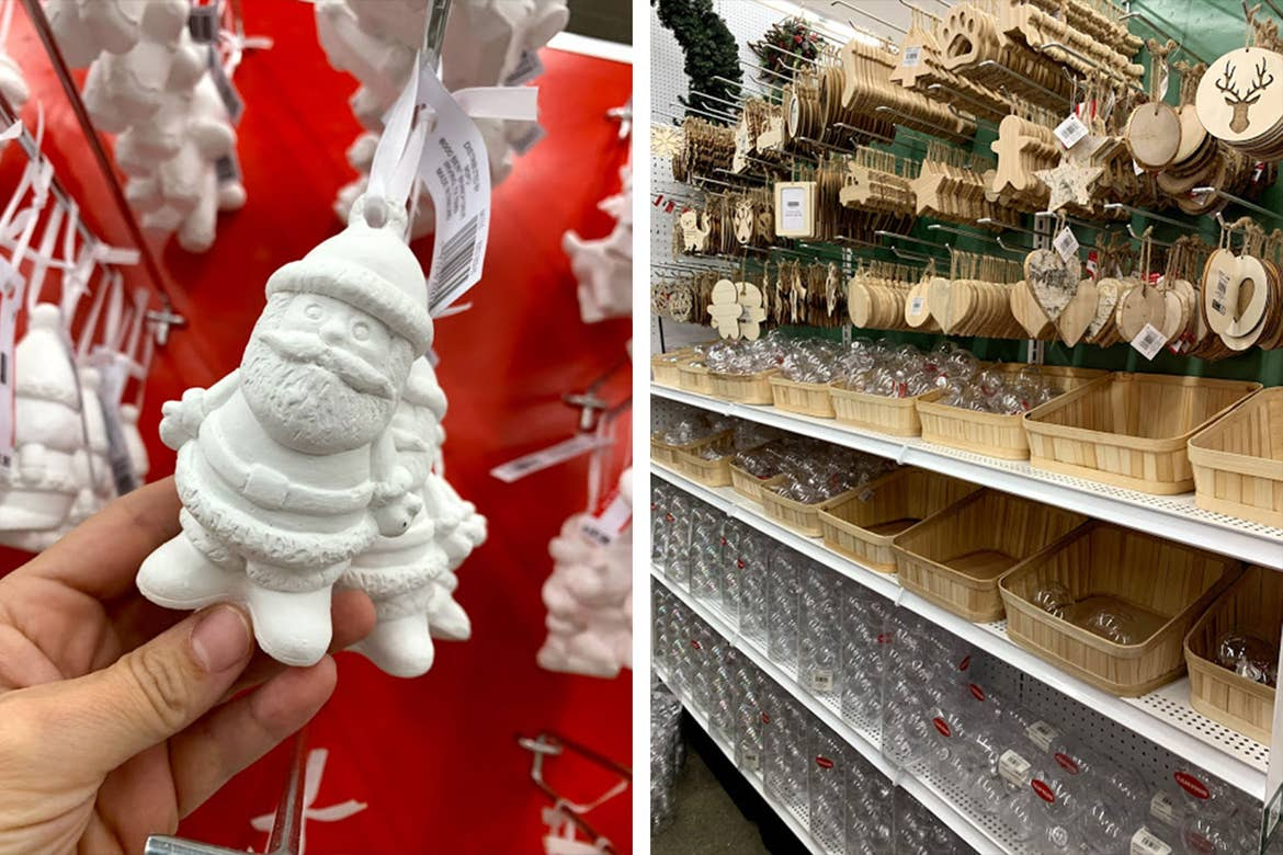 Left: A white Santa Ornament hangs from a store rack waiting to be colored in. Right: Various wood ornaments hang from a store rack awaiting customization.