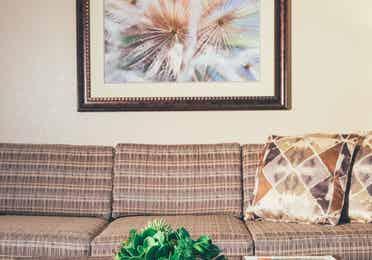 Closeup of couch in a Signature villa in River Island at Orange Lake Resort near Orlando, Florida