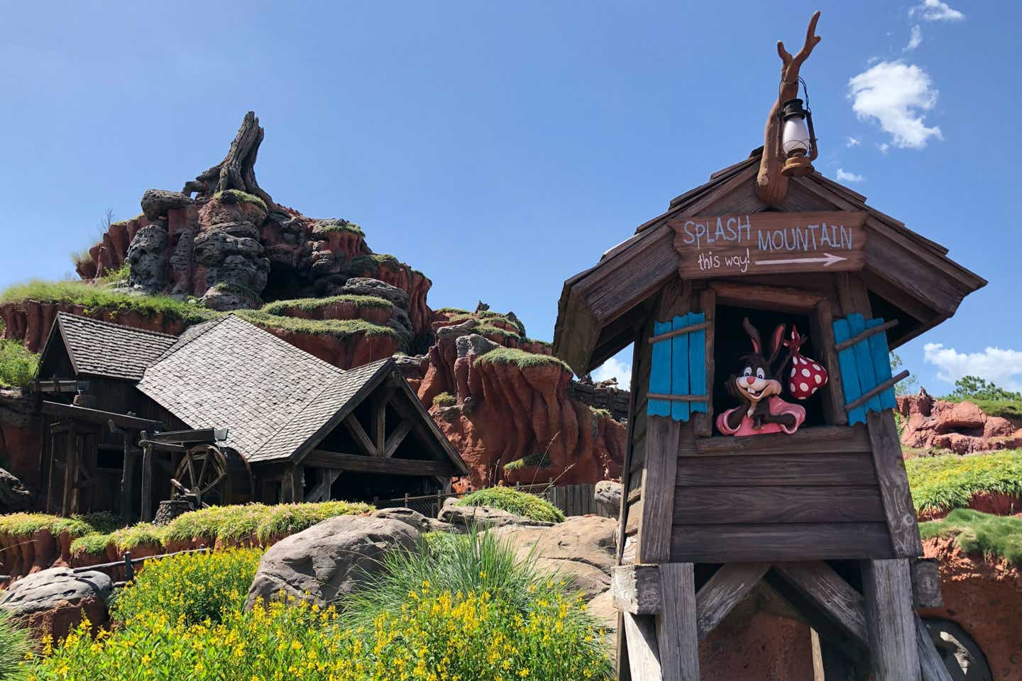 Exterior view of Splash Mountain flume into the Briar Patch.