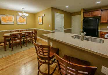 Kitchen bar with sink in a two-bedroom ambassador villa at the Hill Country Resort in Canyon Lake, Texas.