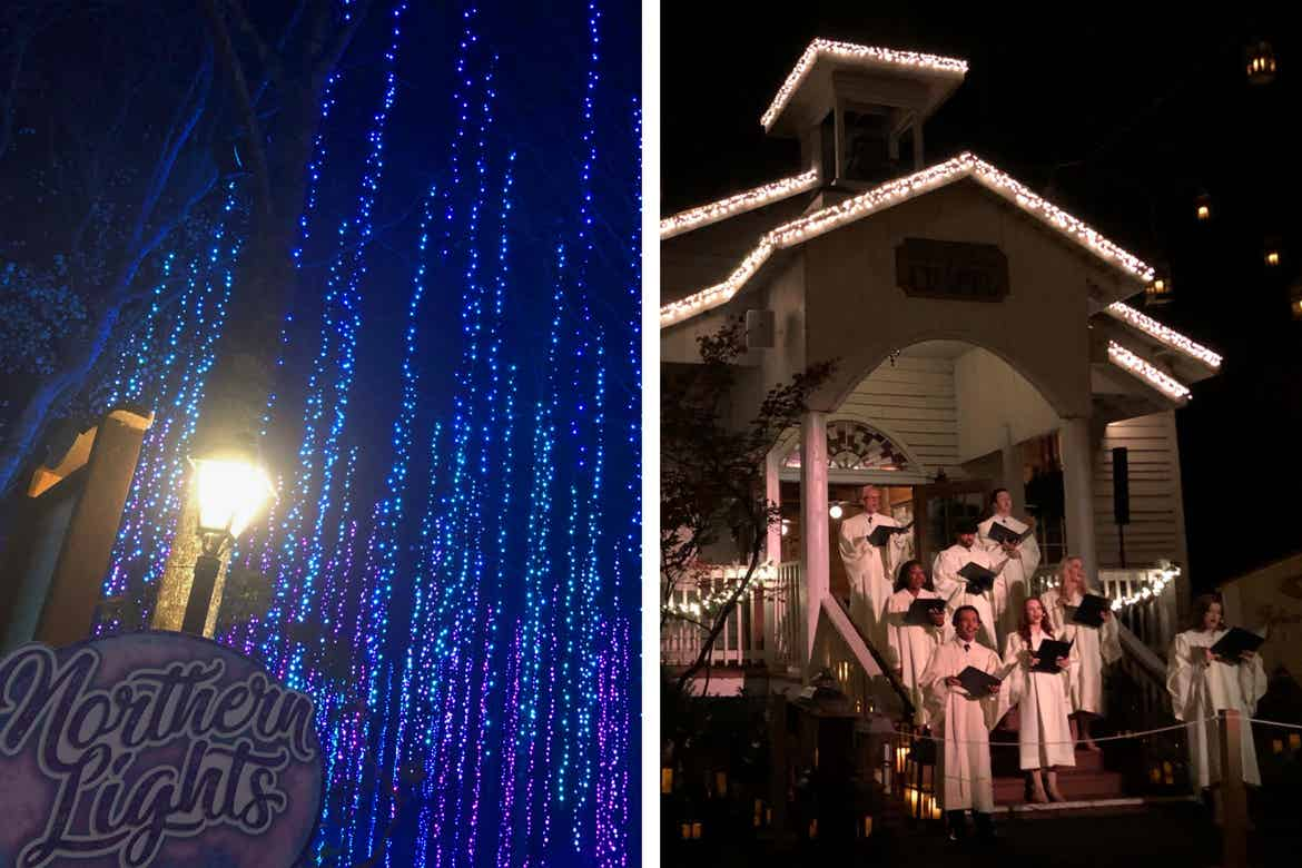 Left: Hanging LED Christmas lights at 'Dollywood.' Right: A white chapel trimmed with LED Christmas lights and choir singers at 'Dollywood.'