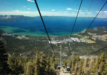 Sierra Nevada Mountains ski lift near David Walley's Resort in Genoa, Nevada