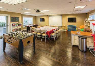 Activity Center with foosball table at Galveston Beach Resort in Texas.