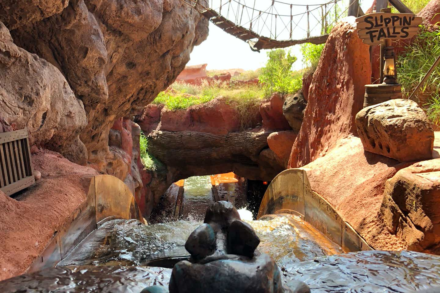 Front-row view from the Splash Mountain attraction at Magic Kingdom.