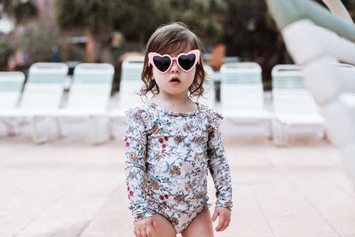 Mia's daughter in heart sunglasses