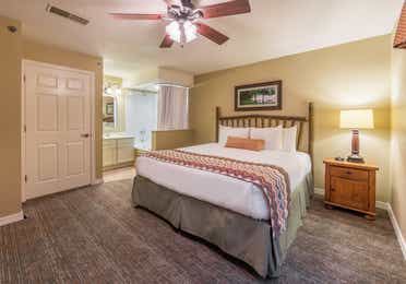 Master bedroom with open bathtub in a two-bedroom villa at Fox River Resort in Sheridan, Illinois