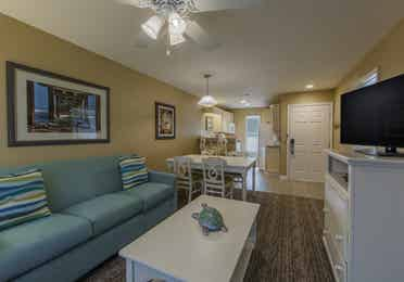 Living room in a two-bedroom villa at Galveston Seaside Resort