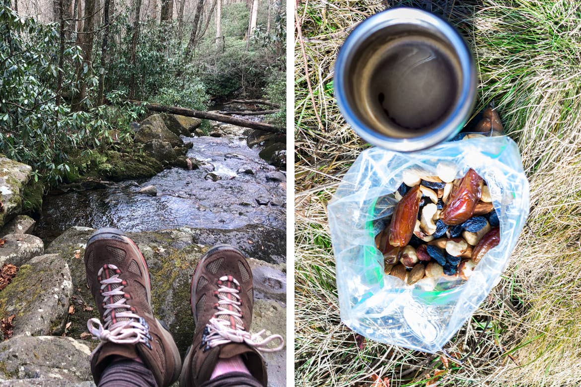 Left: A woman's pair of hiking shoes crossed above a creek in the Great Smoky Mountains National Park. Right: A Ziploc bag full of trail mix placed in a green cup along a green coffee mug on the grass.