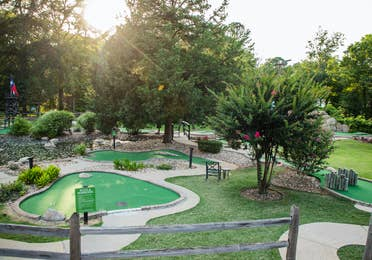 Outdoor mini golf course at Villages Resort in Flint, Texas.