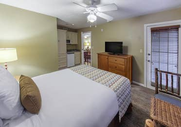 Bedroom in a three-bedroom ambassador villa at the Hill Country Resort in Canyon Lake, Texas.