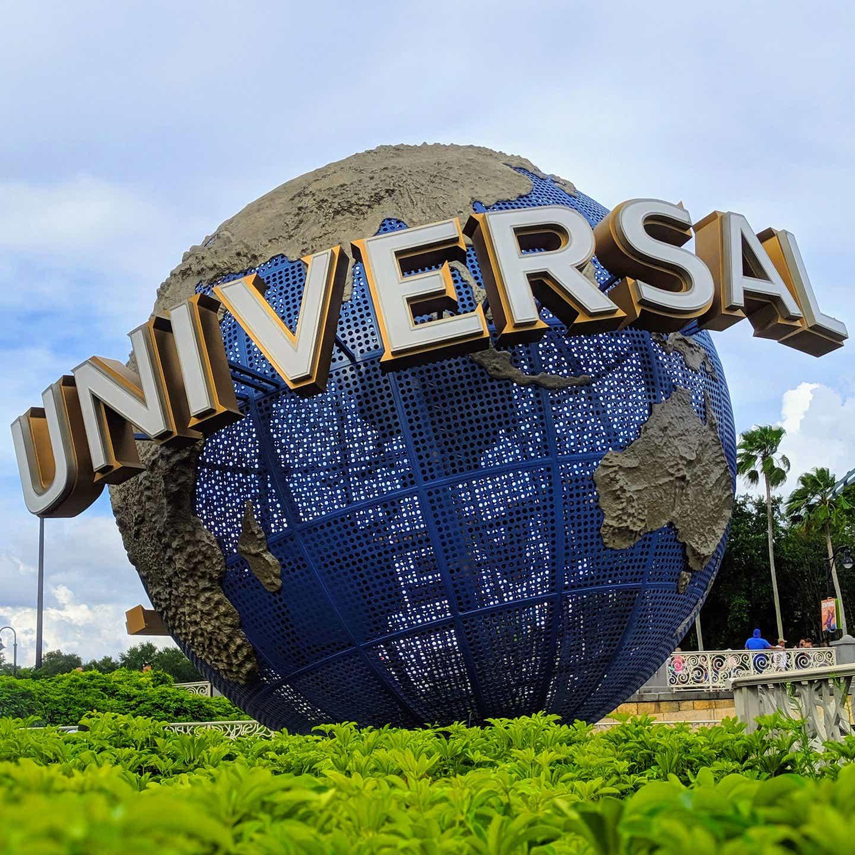 Universal Studio park entrance featuring the Universal Globe (left).