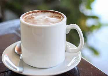 A mug filled with hot chocolate.