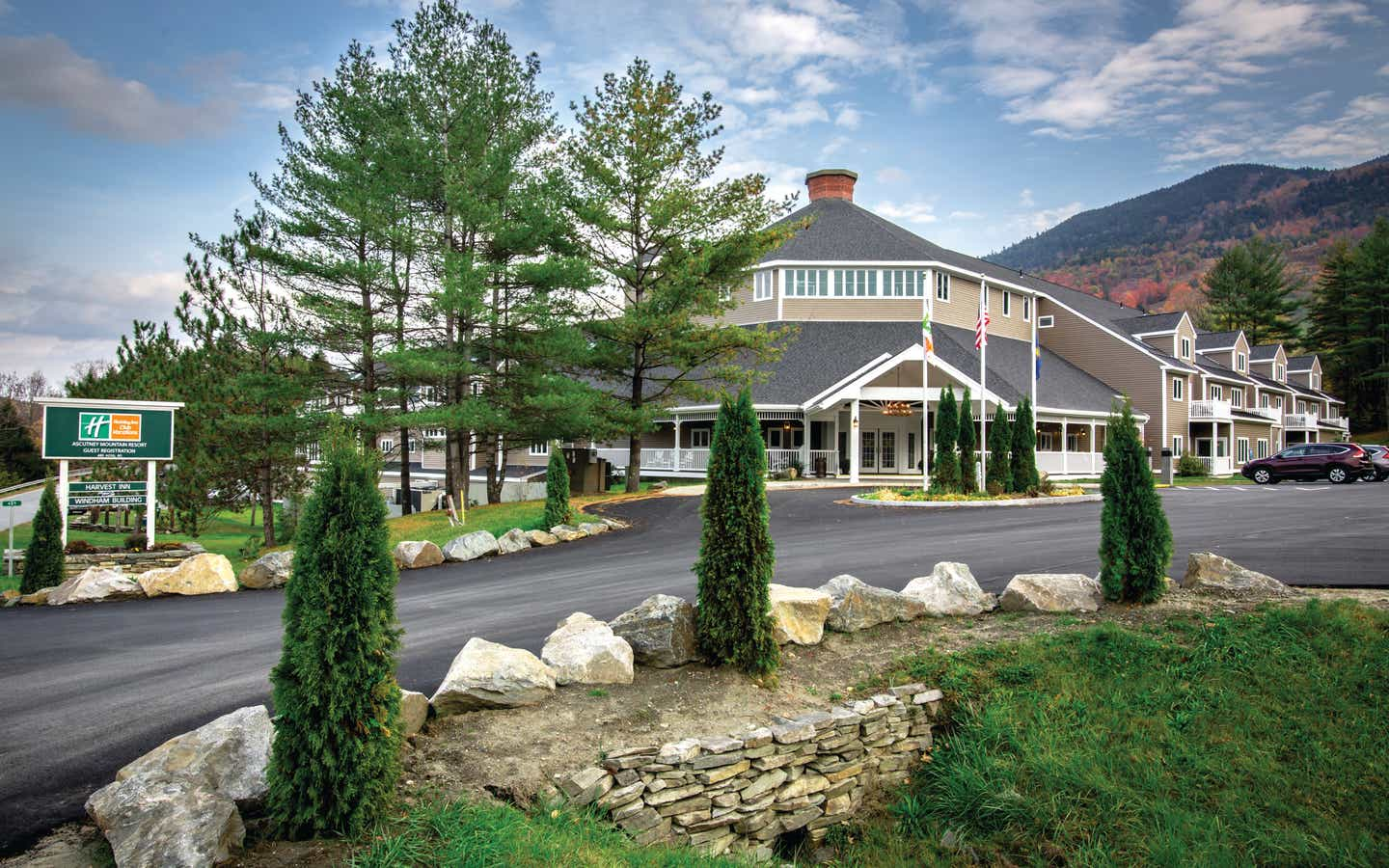 Exterior view of the entrance of Mount Ascutney Resort in Brownsville, VT