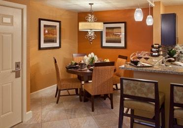 Dining area in a one-bedroom villa at Desert Club Resort in Las Vegas