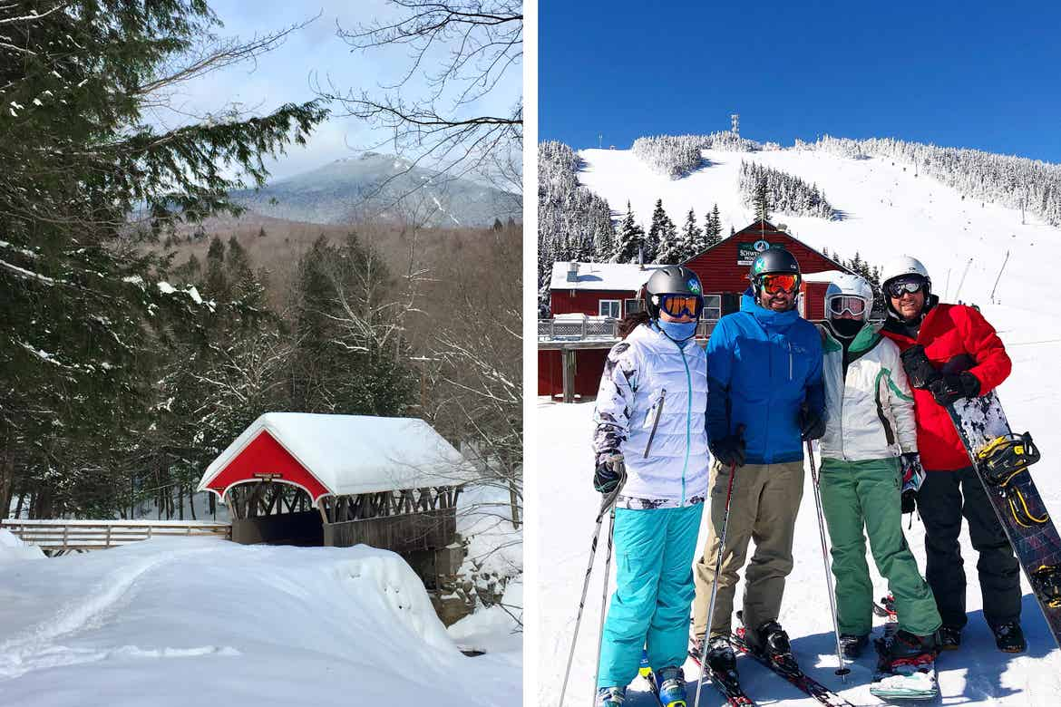 Left: Snow-covered bridge in front of a mountain in a winter setting. Right: Co-contributor, Jenn C. Harmon (middle-right), poses with friends on the ski slopes in Waterville Valley, New Hampshire.