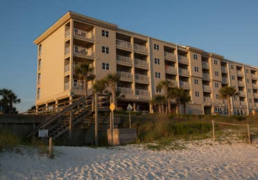 View of property building from beach at Panama City Beach Resort.