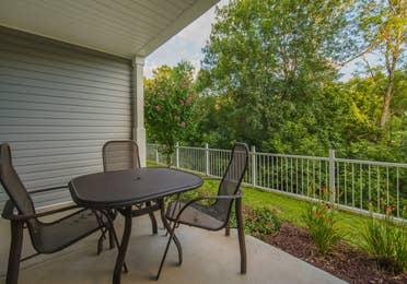 Balcony in a three-bedroom ambassador villa at the Holiday Hills Resort in Branson Missouri.