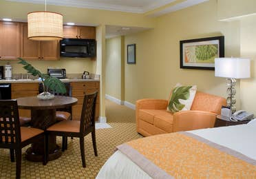 Small dining area and kitchenette in a studio room in West Village at Orange Lake Resort near Orlando, FL