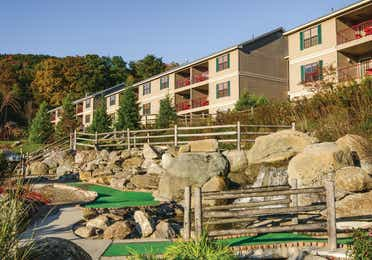 Miniature golf hold over a small creek at Oak n' Spruce Resort in South Lee, Massachusetts