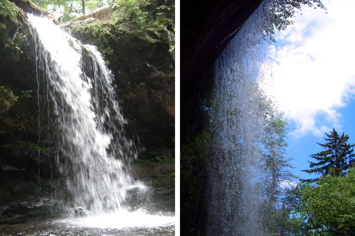 Left: A waterfall cascades over a rock formation at Grotto Falls in Tennessee. Right: The backside of a waterfall beneath a blue cloudy sky and green trees.