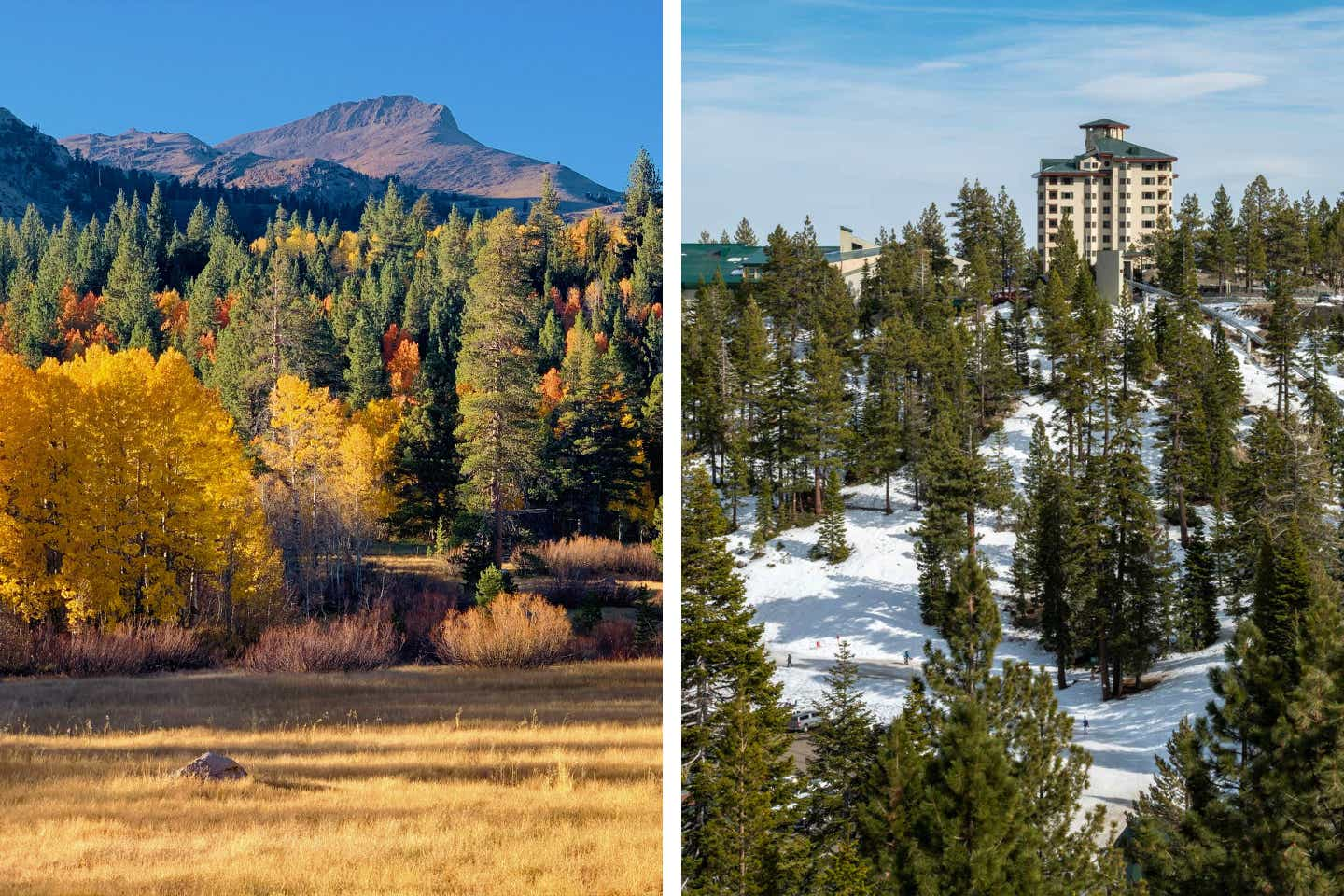 Left: Jobs Peak appears in the distance as autumn foliage from the trees appear in the foreground. Right: Exterior shot of the Tahoe Ridge Resort and the hillside landscape.