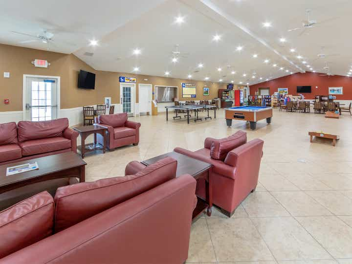 Activity center with billiards and ping pong table at Orlando Breeze Resort near Orlando, Florida.