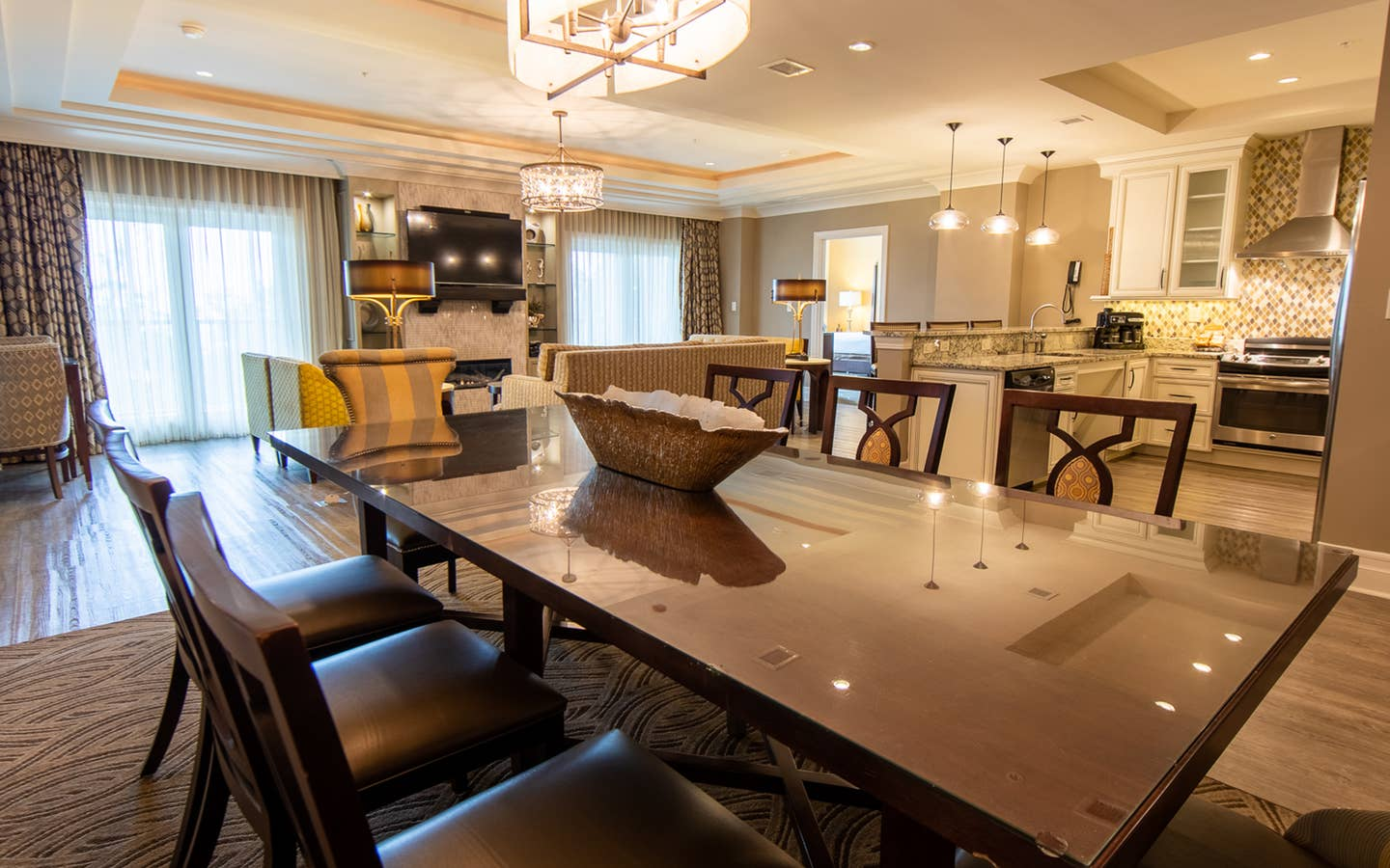Dining room table in a four-bedroom Signature Collection villa at South Beach Resort in Myrtle Beach, South Carolina.