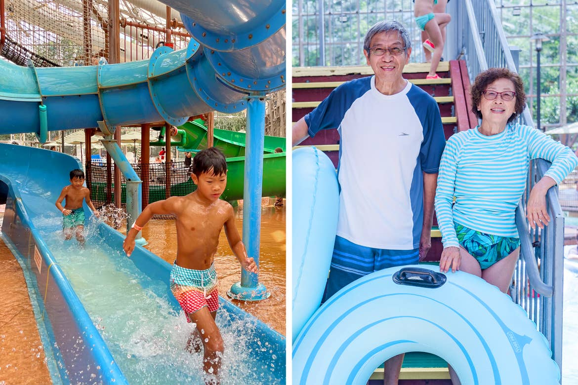 Left: Two young, Asian boys wear multicolored swim trunks while running off the indoor pool waterslide. Right: An older Asian man (left) and woman (right) wear multicolored swimsuits while holding blue inner-tubes at an indoor waterpark.