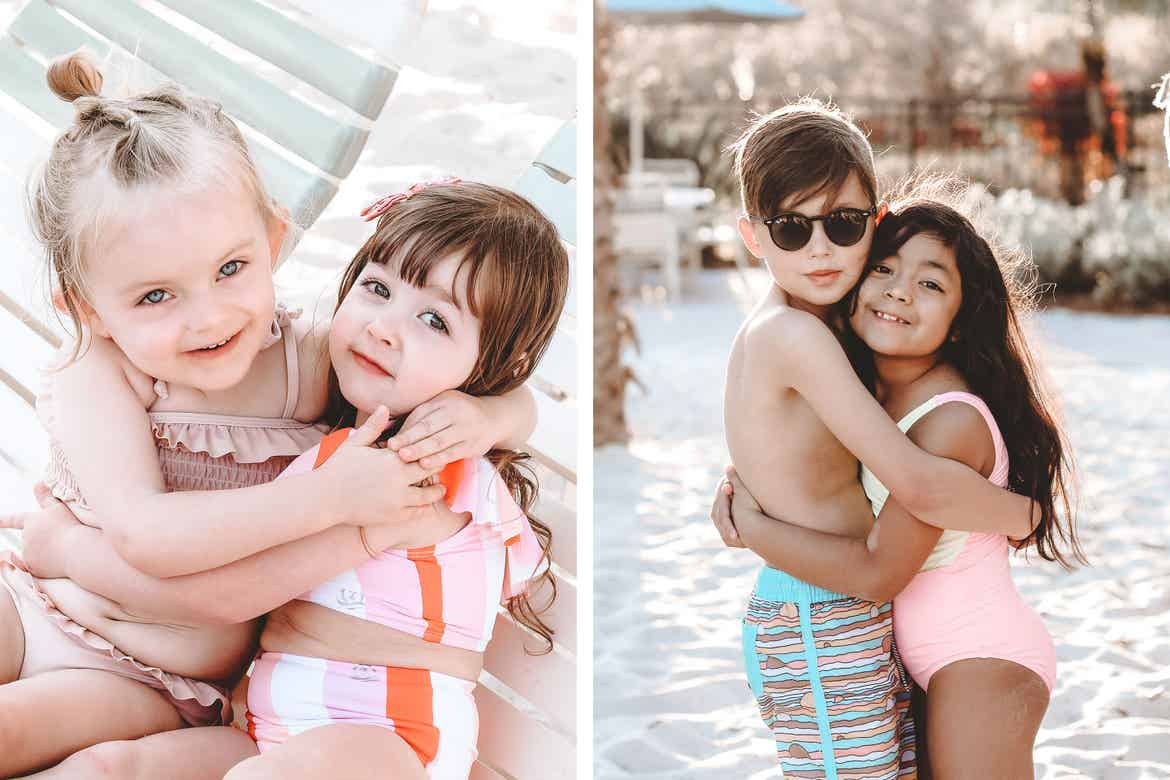 Left: Two little girls hug on a white beach lounge chair wearing swimsuits. Right: Grey and his cousin hug on white sands wearing swimsuits.