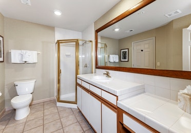 Bathroom in a Ridge Pointe one-bedroom villa at Tahoe Ridge Resort