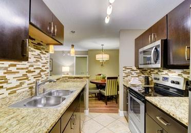 Kitchen in a two-bedroom villa at Desert Club Resort in Las Vegas