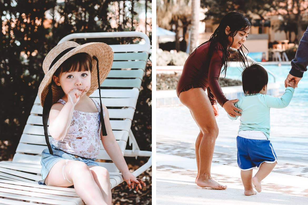 Left: Poppy Bleu wears a sunhat and eats a melted ice cream bar on a white beach lounge chair. Right: Mia St. Clair's niece and nephew enter the zero-entry pool at River Island.