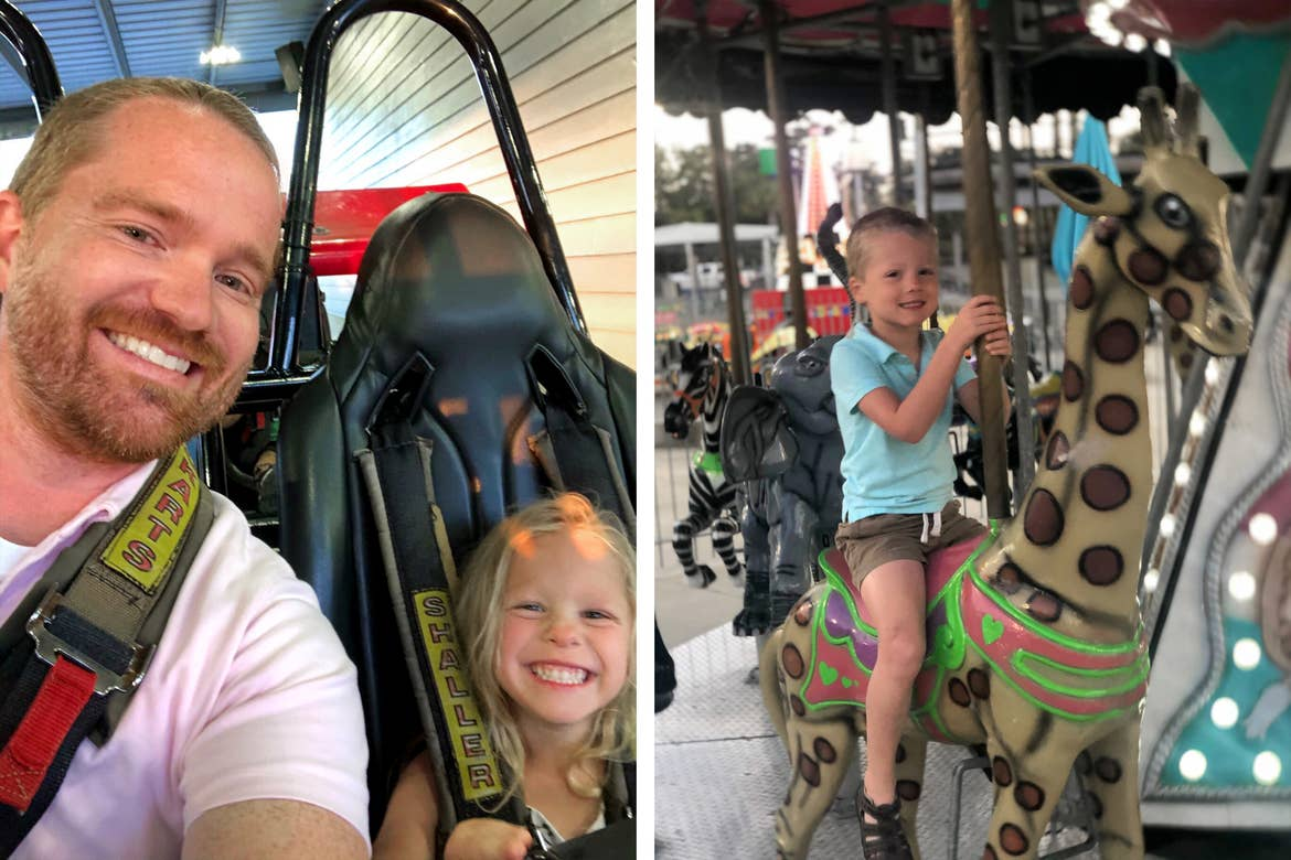 Left: Brianna's husband (left) and daughter (right) share a go-kart at Track Family Fun Park. Right: Brianna's son rides a giraffe figure on a carousel at Track Family Fun Park.