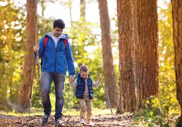 Father and son hiking through the woods