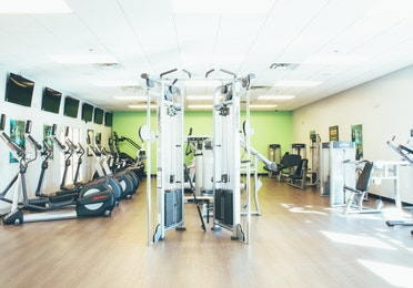 Fitness center with weights and elliptical machines in River Island at Orange Lake Resort near Orlando, Florida