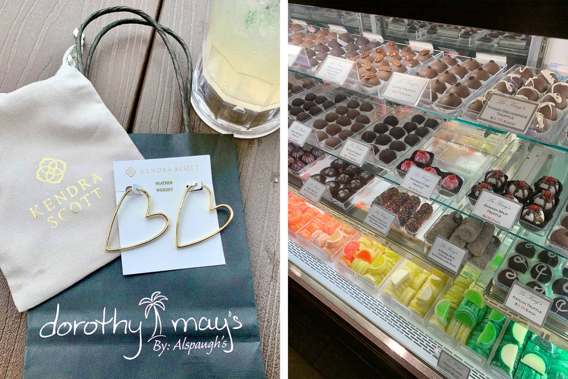 Left: A pair of golden heart-hoop earrings rest on top of a canvas pouch that reads 'Kendra Scott' and a black paper bag that reads 'dorothy may's'. Right: A confectionery display from historic downtown Galveston, Tx.