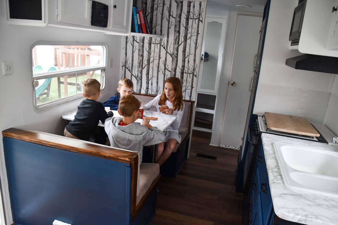 Jessica's kids playing in the RV.