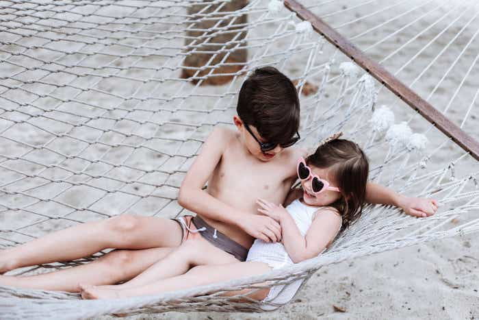 Mia's kids on a hammock