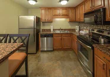 Kitchen in a three-bedroom villa at Mount Ascutney Resort in Brownsville, VT