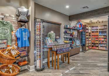 Marketplace with souvenirs and snacks at Piney Shores Resort in Conroe, Texas