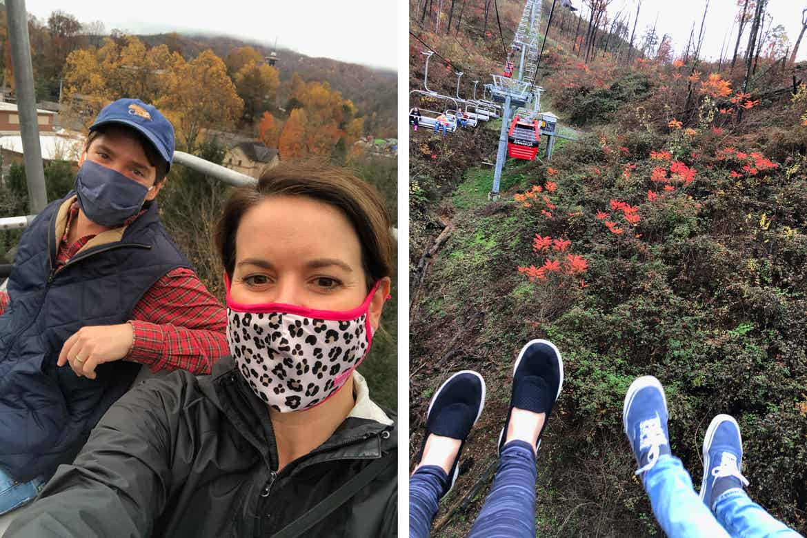 Left: A man wears a safety mask, blue baseball cap and a blue vest next to Jennifer C. Harmon (right) wearing a safety mask and black jacket on a chair lift. Right: Two pairs of feet kick the open air on the chair lift.