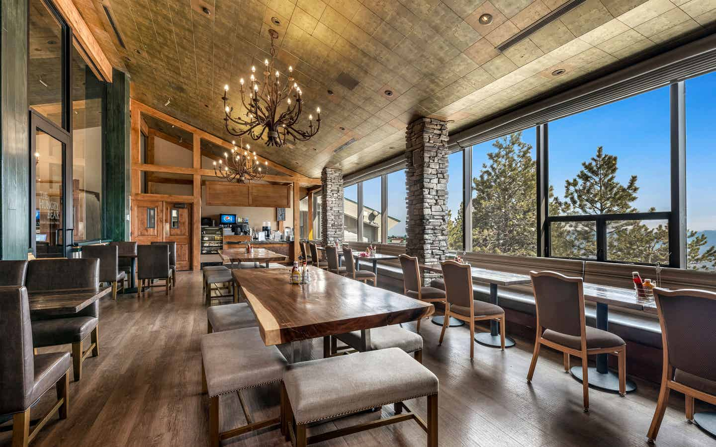 Bistro with a view of Sierra Nevada Mountains at Tahoe Ridge Resort in Stateline, Nevada.