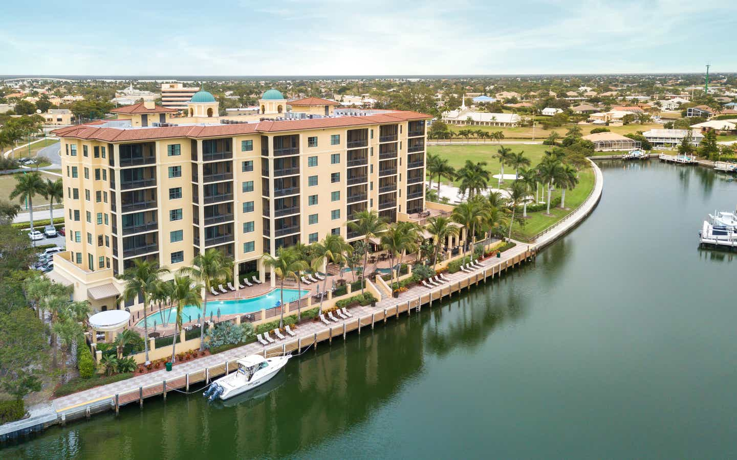 Aerial view of Sunset Cove Resort in Marco Island, FL