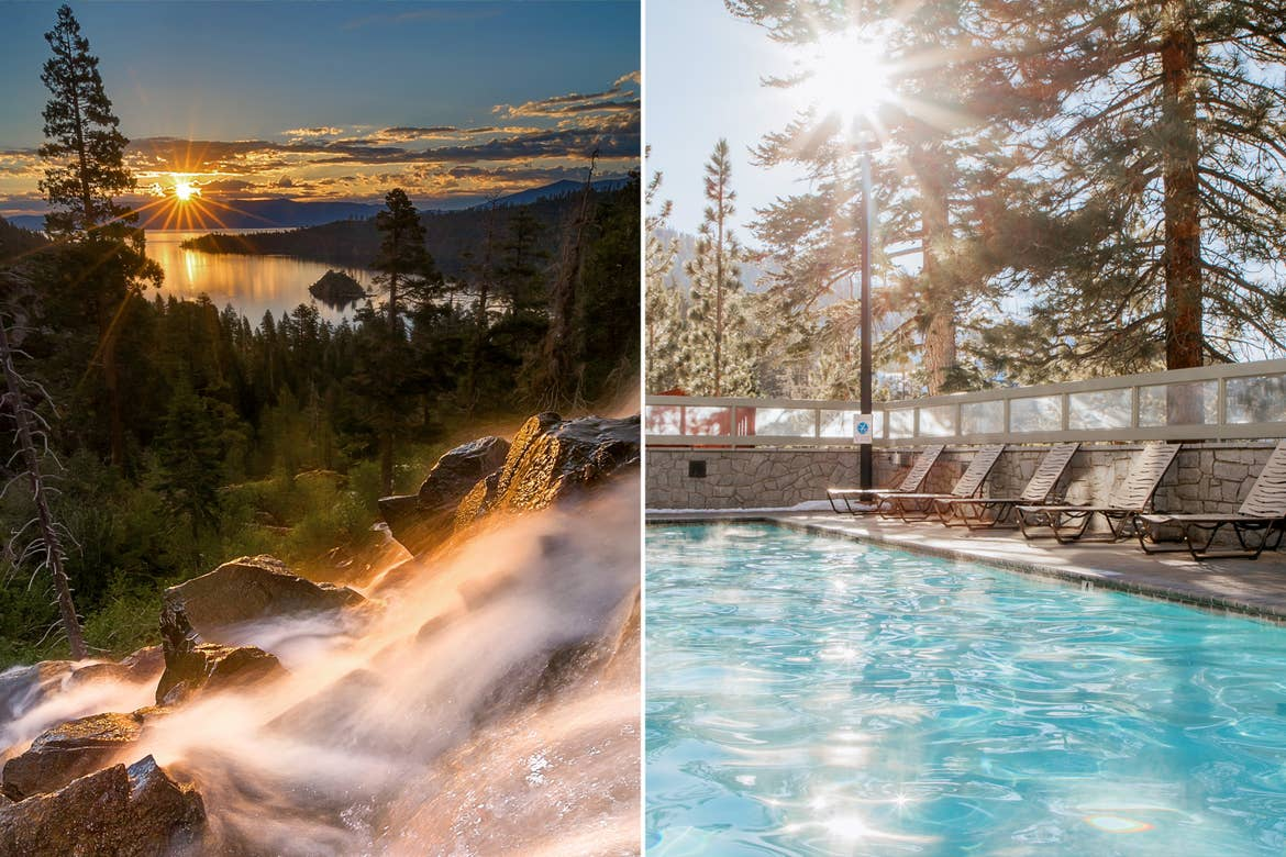 Left: A waterfall cascades down the rocky hills near Lake Tahoe Right: Sunlight pokes through the pines at our Tahoe Ridge Resort pool.