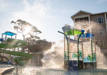 View of waterslide and splash pad at South Beach Resort in Myrtle Beach, South Carolina.