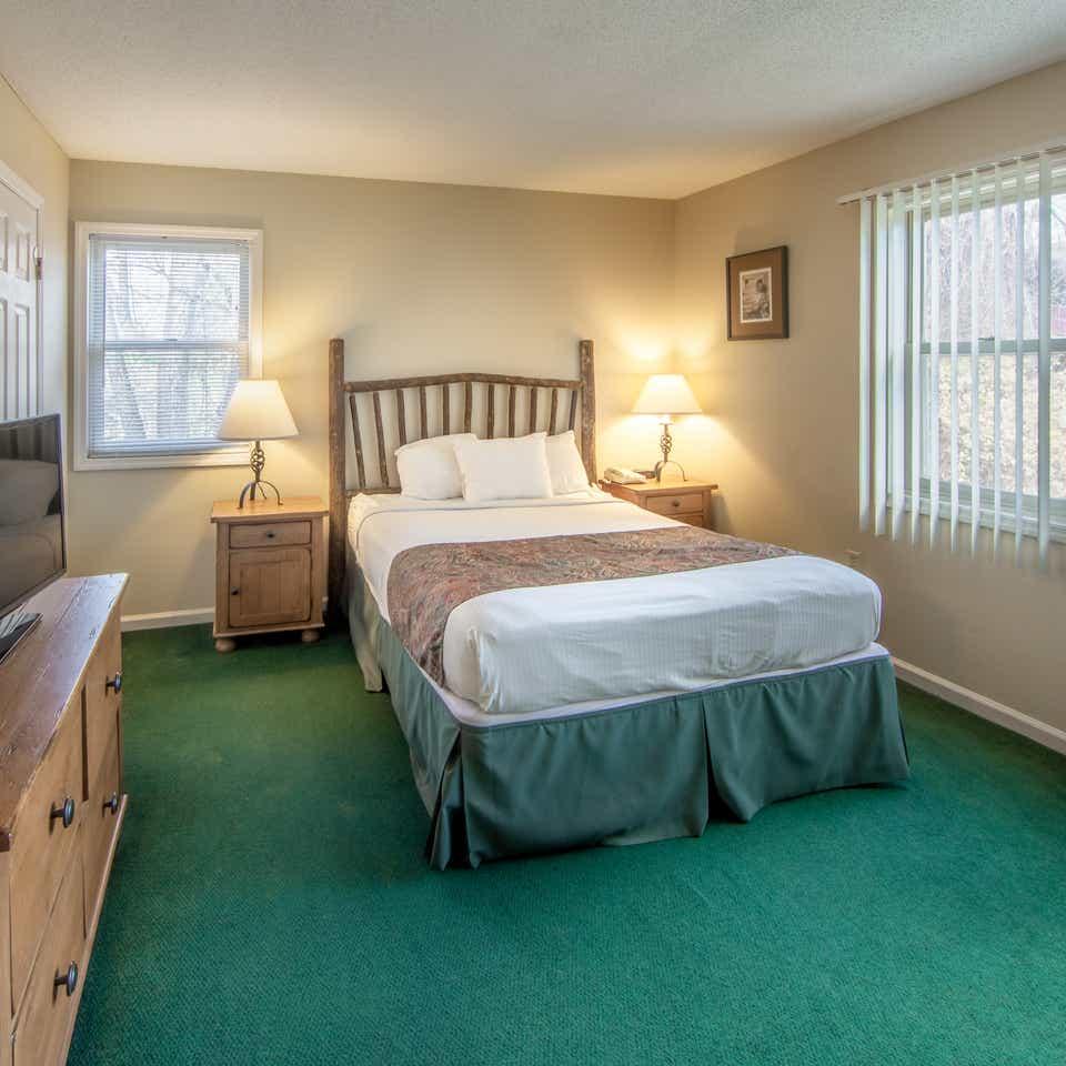 Bedroom in a Suite at Oak n' Spruce Resort in South Lee, Massachusetts