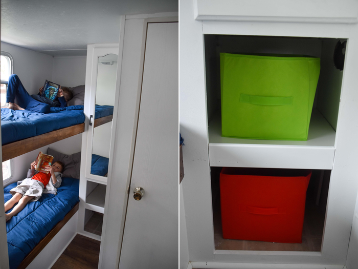 RV collage of Jessica's kids and storage cubes