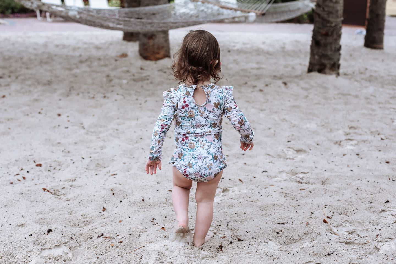 Mia's daughter running to hammock
