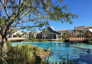 Water front store and restaurants at Disney Springs in Orlando, Florida.